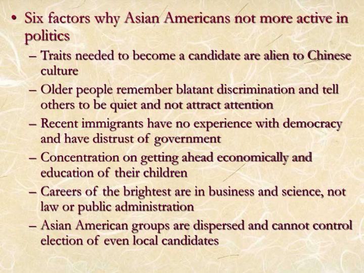 Six factors why Asian Americans not more active in politics