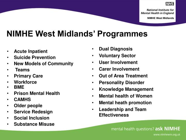 Nimhe west midlands programmes