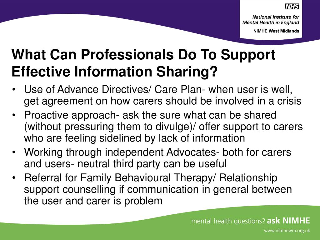What Can Professionals Do To Support Effective Information Sharing?