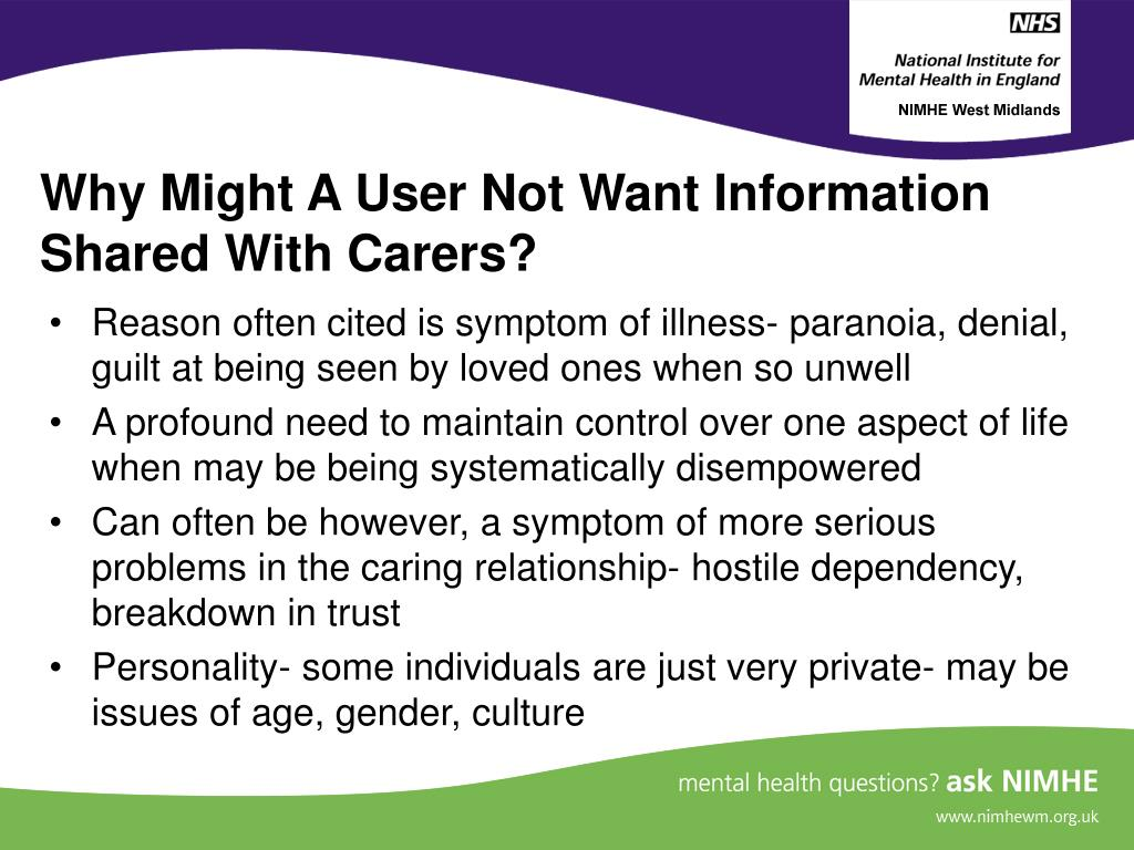 Why Might A User Not Want Information Shared With Carers?