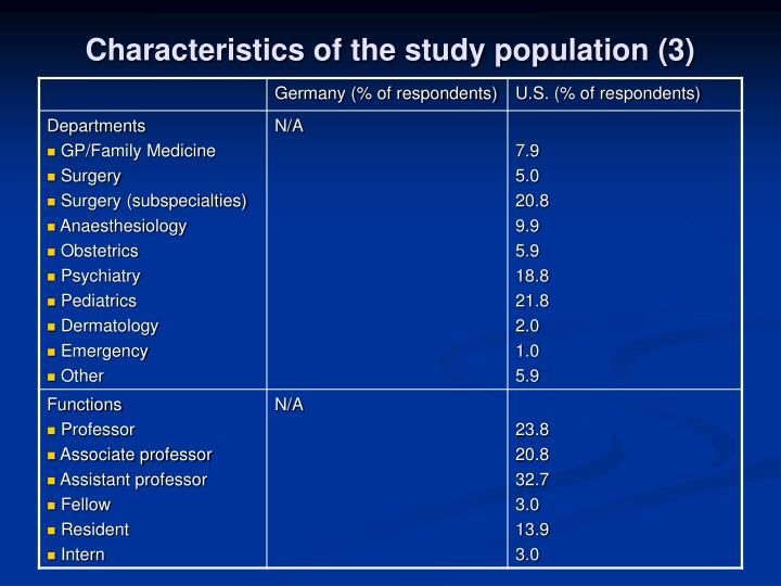 Characteristics of the study population (3)