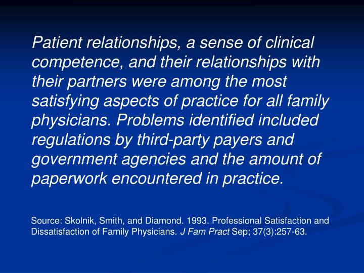 Patient relationships, a sense of clinical competence, and their relationships with their partners were among the most satisfying aspects of practice for all family physicians. Problems identified included regulations by third-party payers and government agencies and the amount of paperwork encountered in practice.