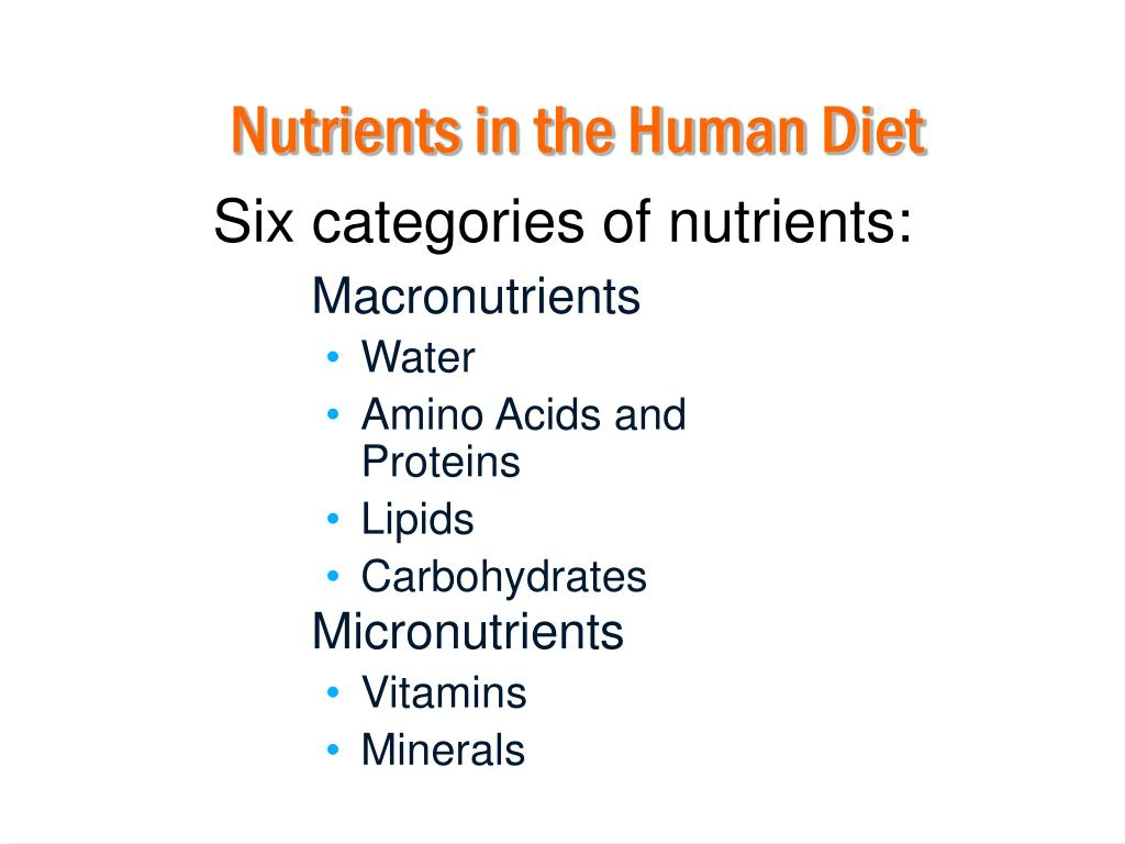 Nutrients in the Human Diet