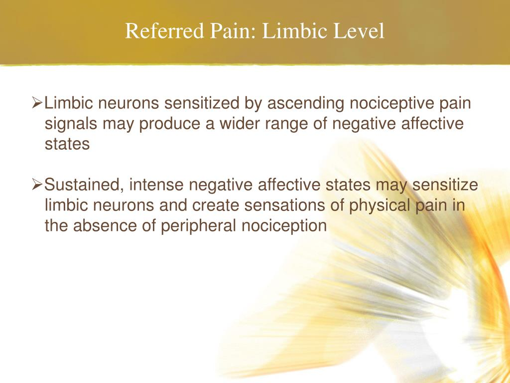 Referred Pain: Limbic Level