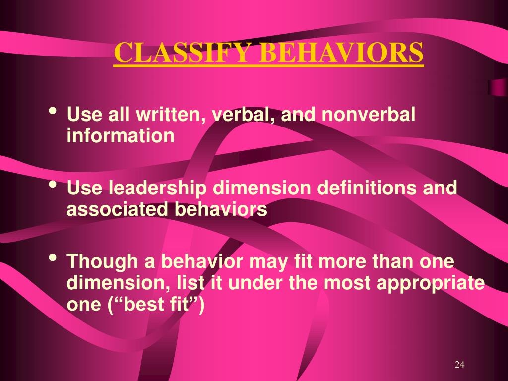 CLASSIFY BEHAVIORS