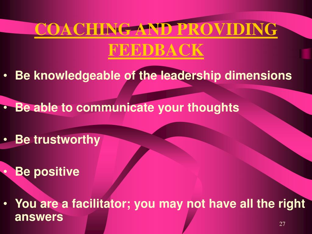 COACHING AND PROVIDING FEEDBACK