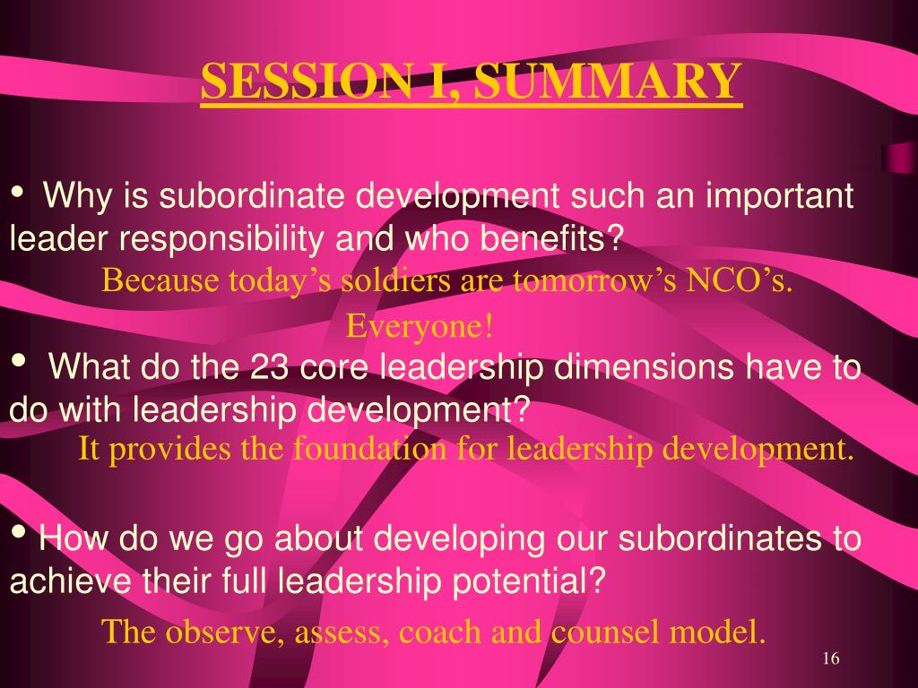 SESSION I, SUMMARY