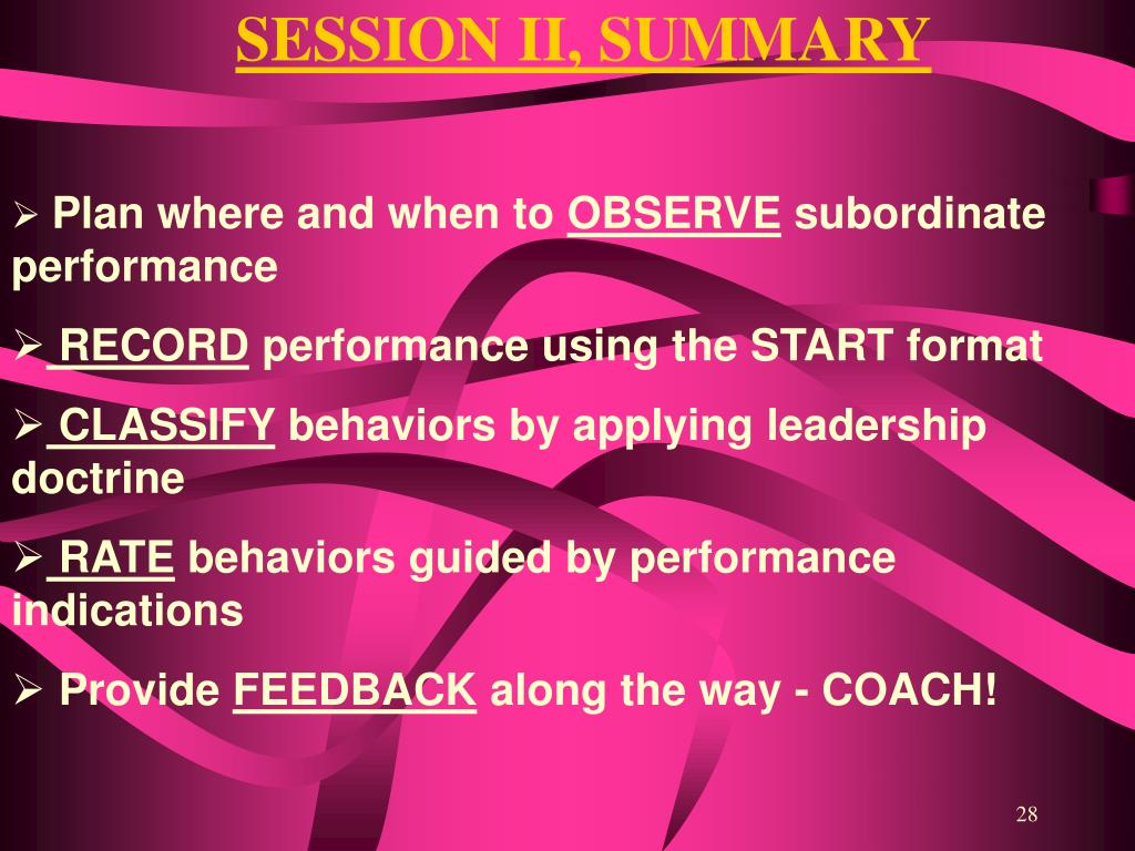SESSION II, SUMMARY