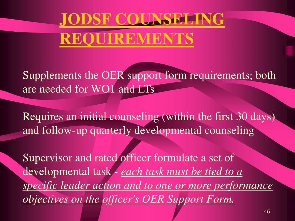 JODSF COUNSELING REQUIREMENTS