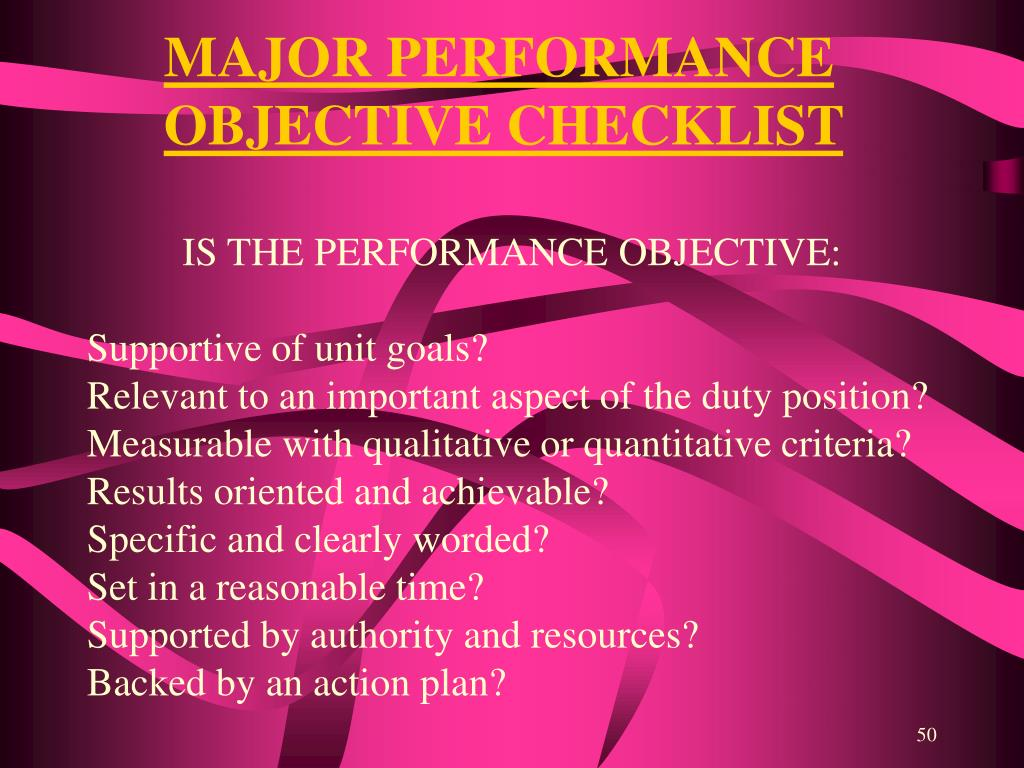 MAJOR PERFORMANCE OBJECTIVE CHECKLIST