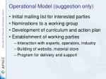 operational model suggestion only