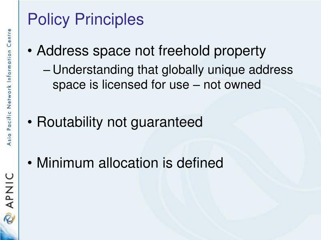 Policy Principles