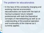 the problem for educationalists