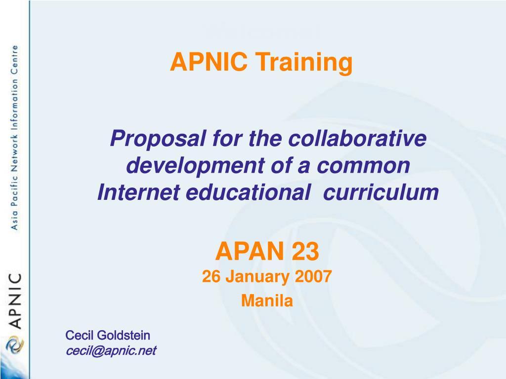 welcome apnic training l.