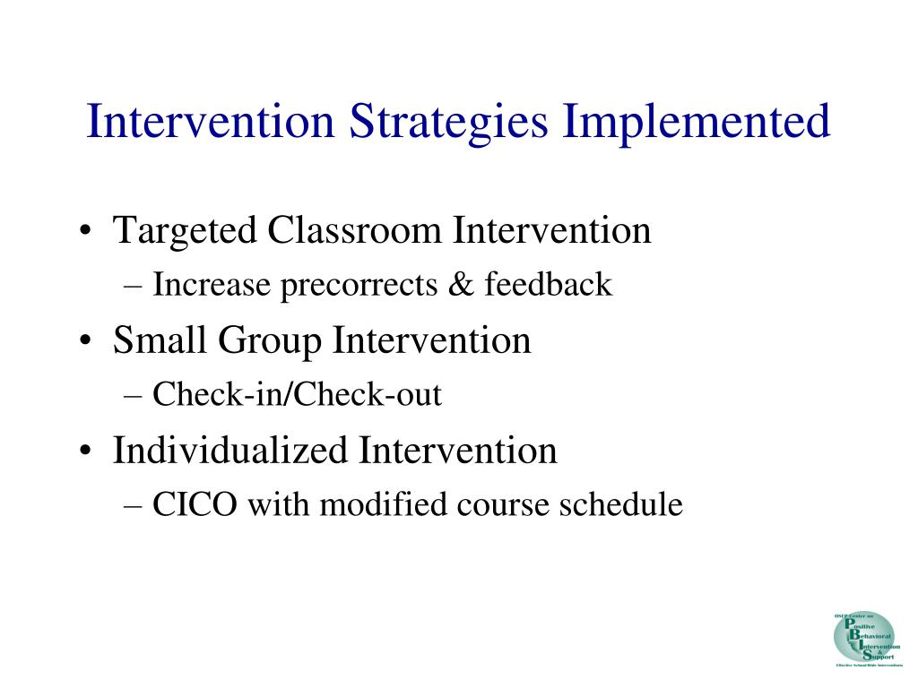 Intervention Strategies Implemented
