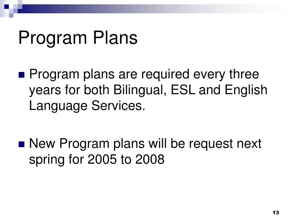 Program Plans