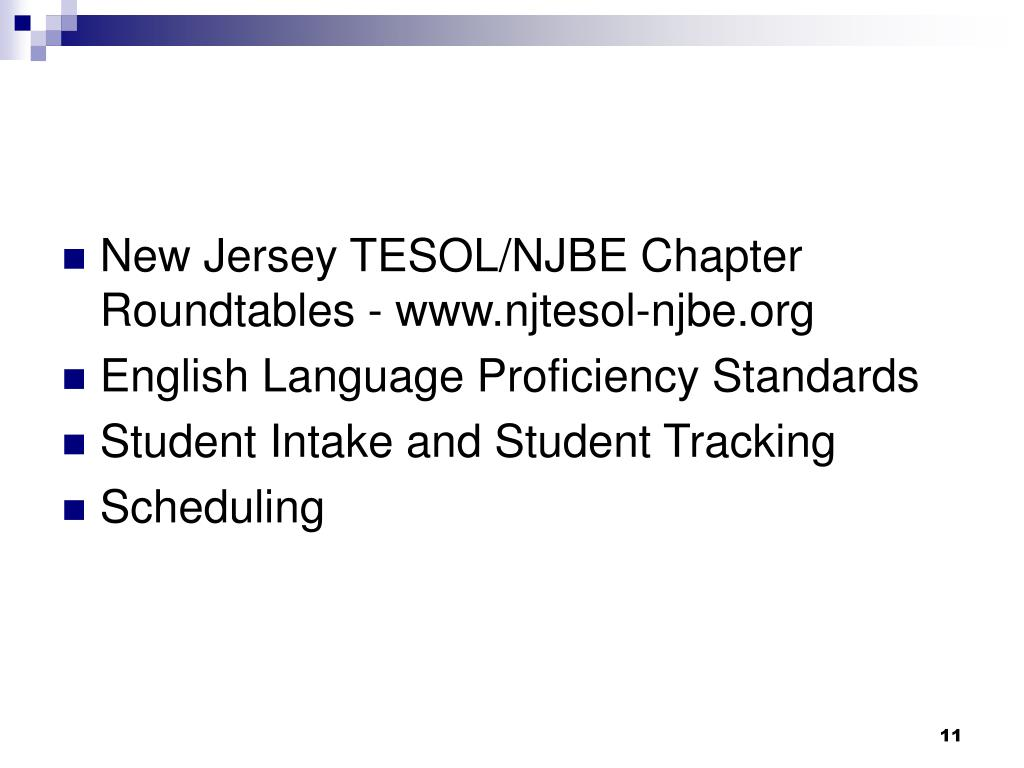New Jersey TESOL/NJBE Chapter Roundtables - www.njtesol-njbe.org