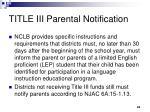 title iii parental notification