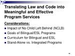 translating law and code into meaningful and effective program services