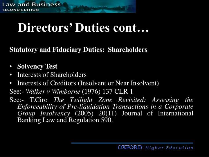 Directors duties cont