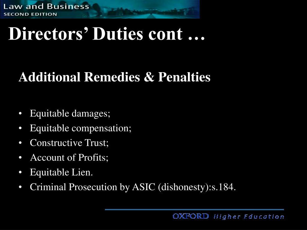 Directors' Duties cont …