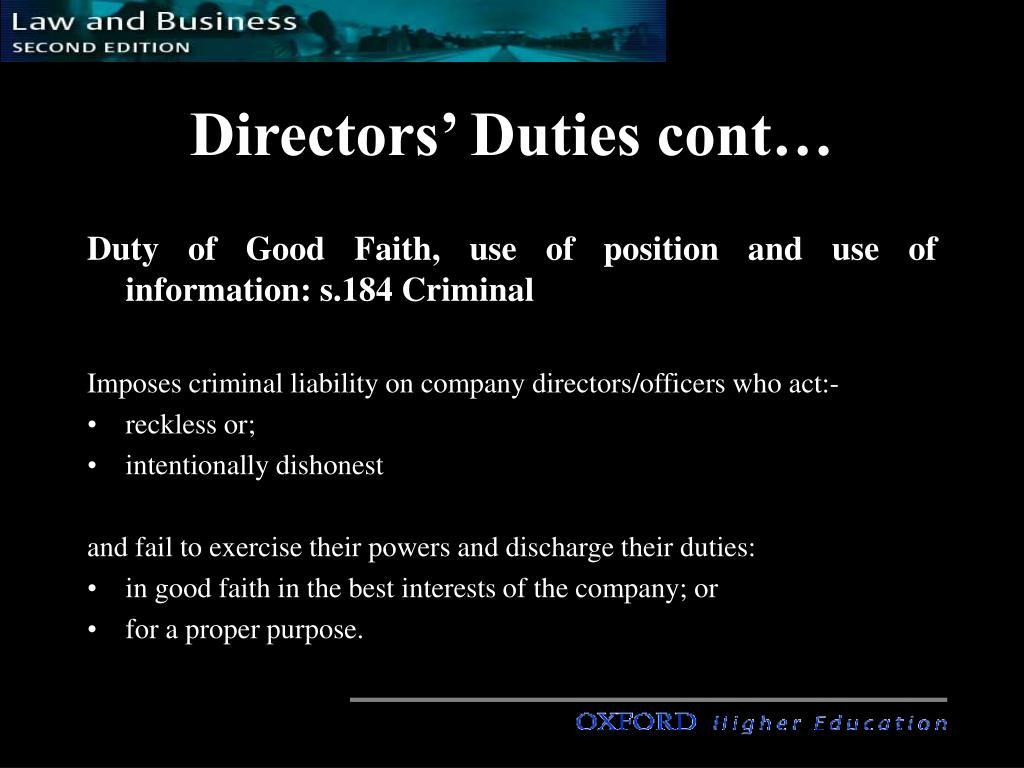 Directors' Duties cont…
