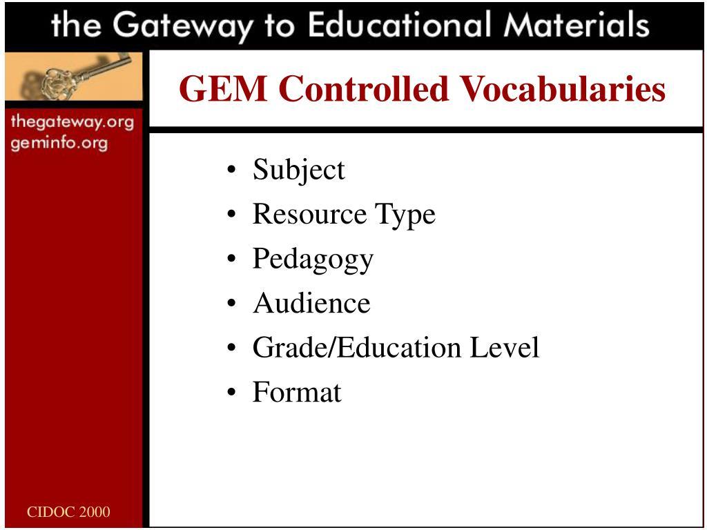 GEM Controlled Vocabularies