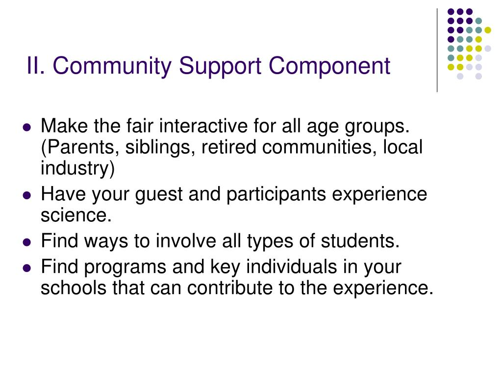II. Community Support Component