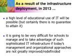 as a result of the infrastructure deployment in 2013