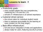 lessons to learn 1