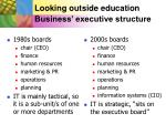 looking outside education business executive structure
