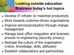 looking outside education business today s hot topics