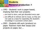 students personal production 1