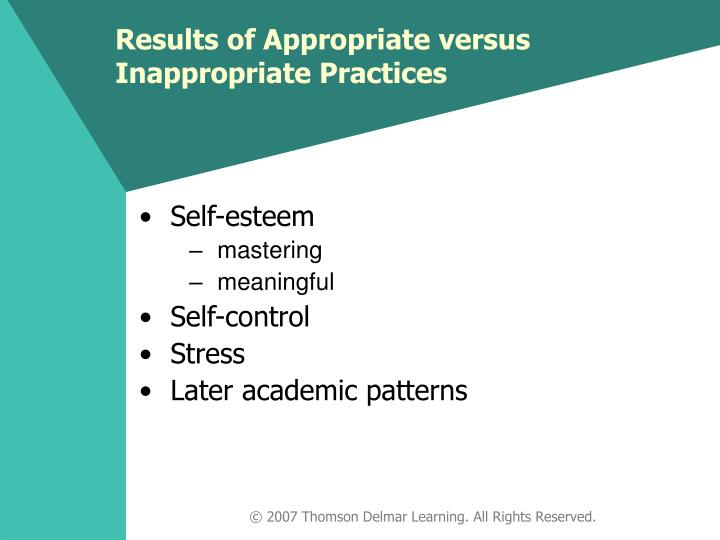 Results of Appropriate versus