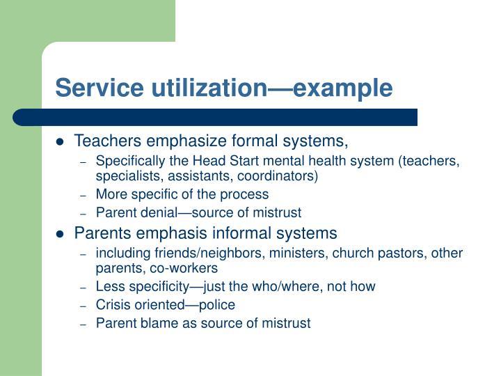 Service utilization—example