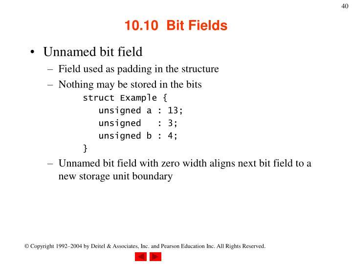 10.10  Bit Fields