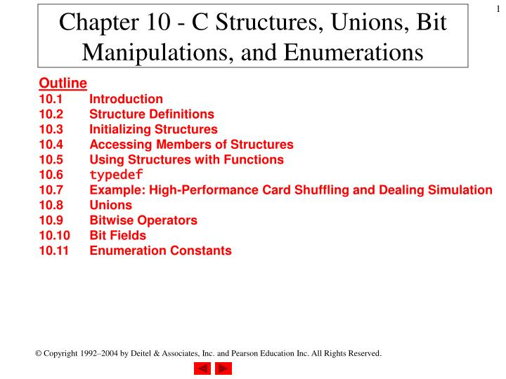 Chapter 10 c structures unions bit manipulations and enumerations