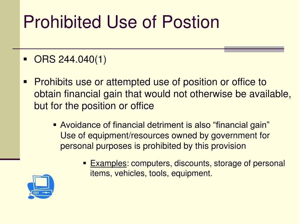 Prohibited Use of Postion