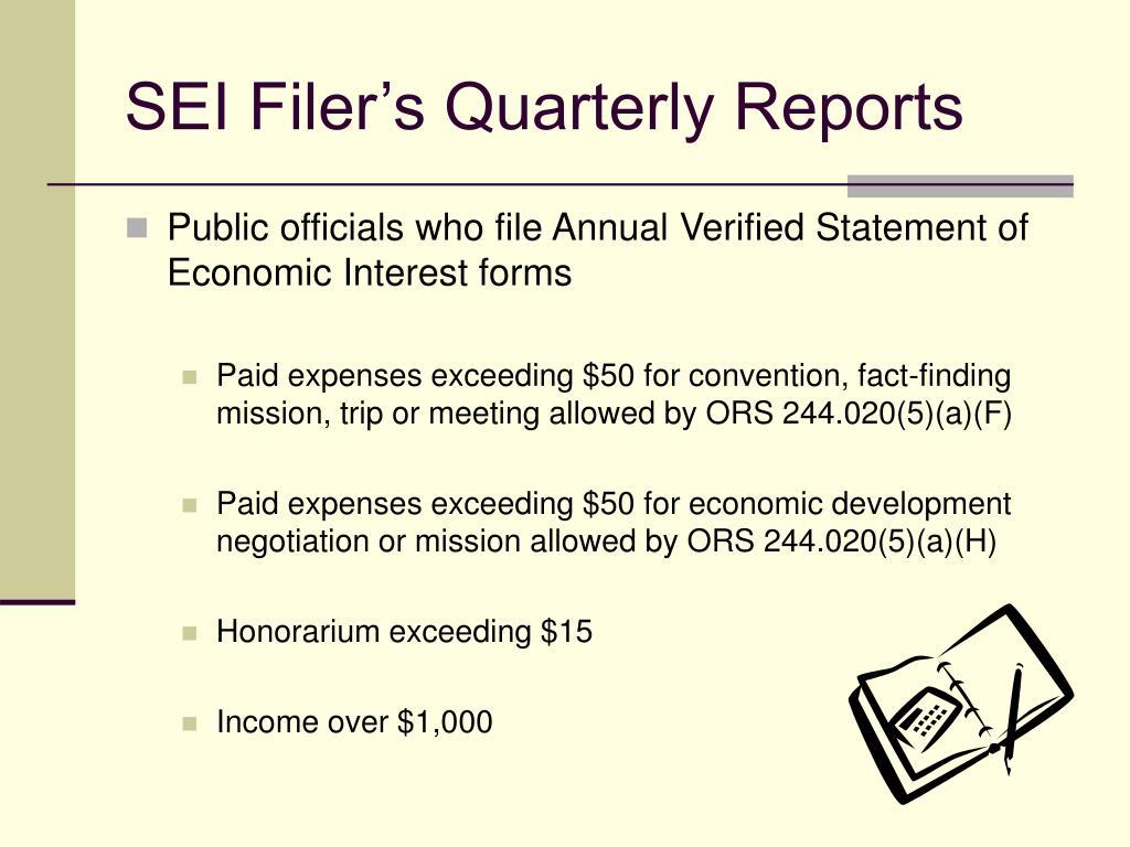 SEI Filer's Quarterly Reports