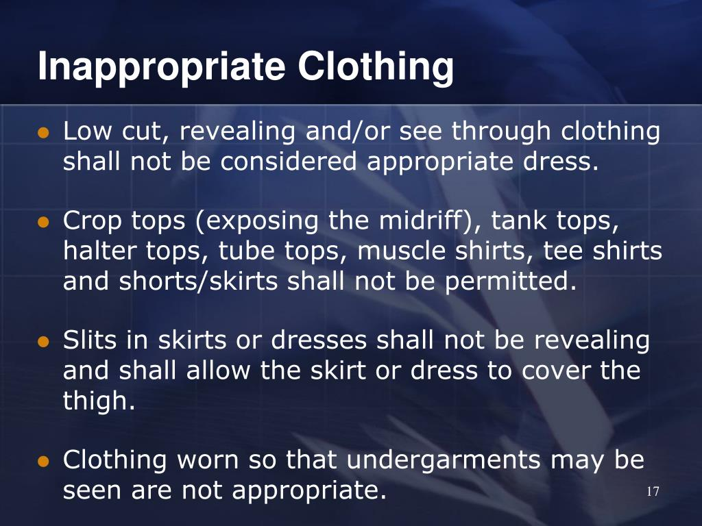 Inappropriate Clothing