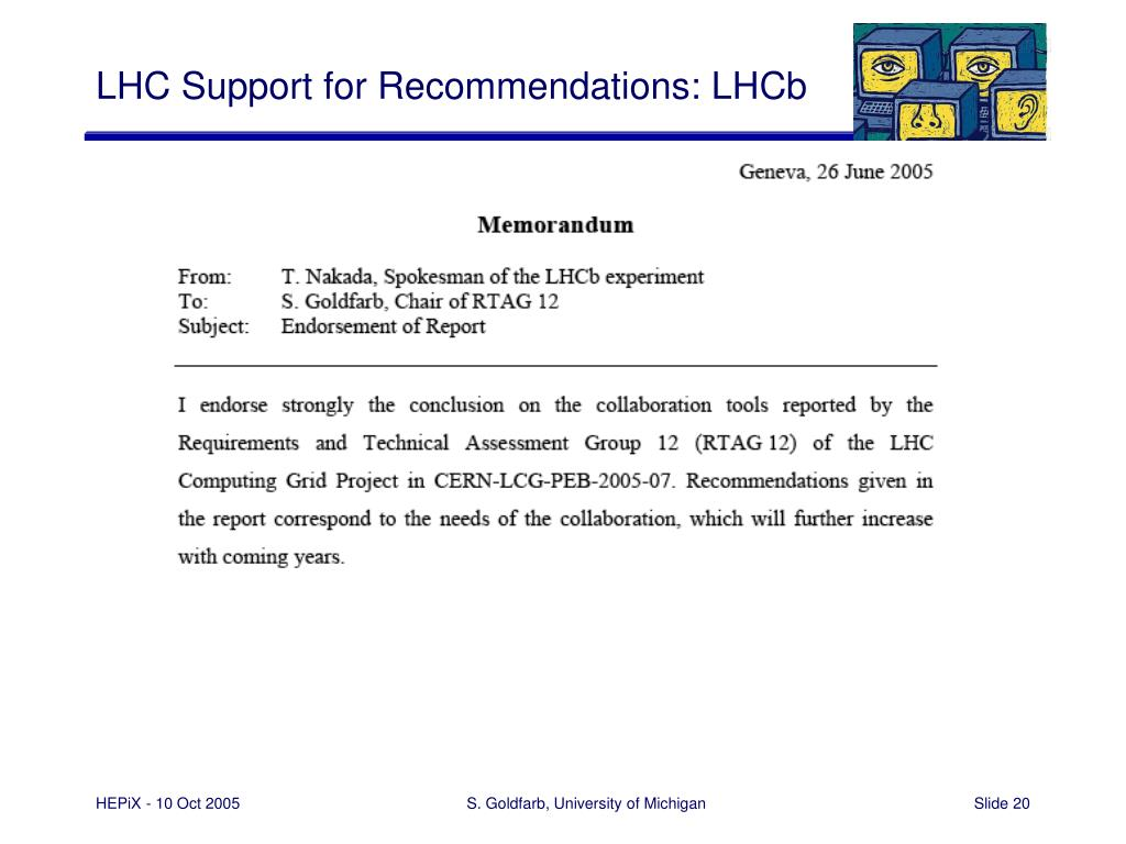 LHC Support for Recommendations: LHCb