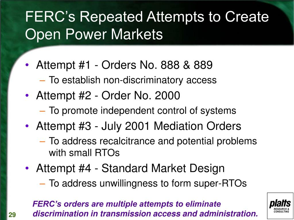 FERC's Repeated Attempts to Create Open Power Markets