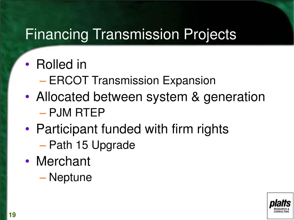 Financing Transmission Projects