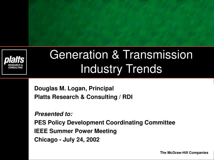 Generation transmission industry trends