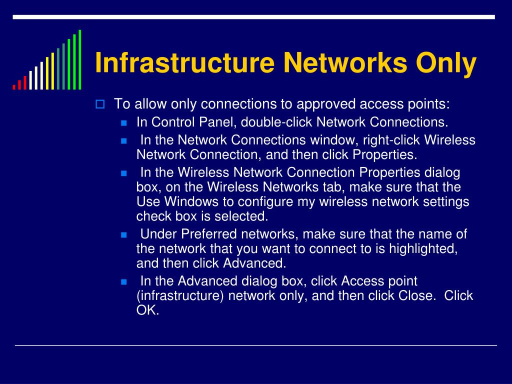 Infrastructure Networks Only