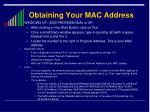obtaining your mac address