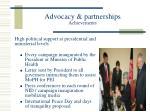 advocacy partnerships achievements