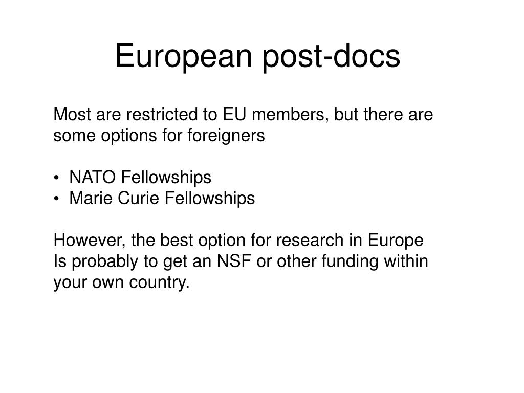 European post-docs