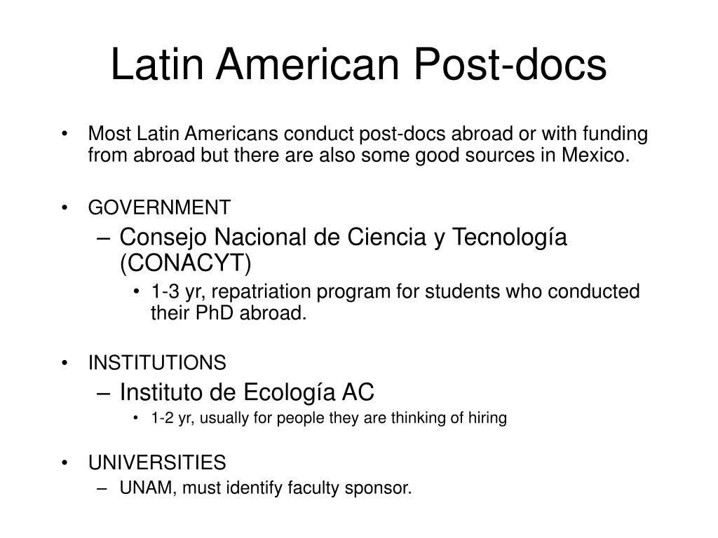 Latin American Post-docs