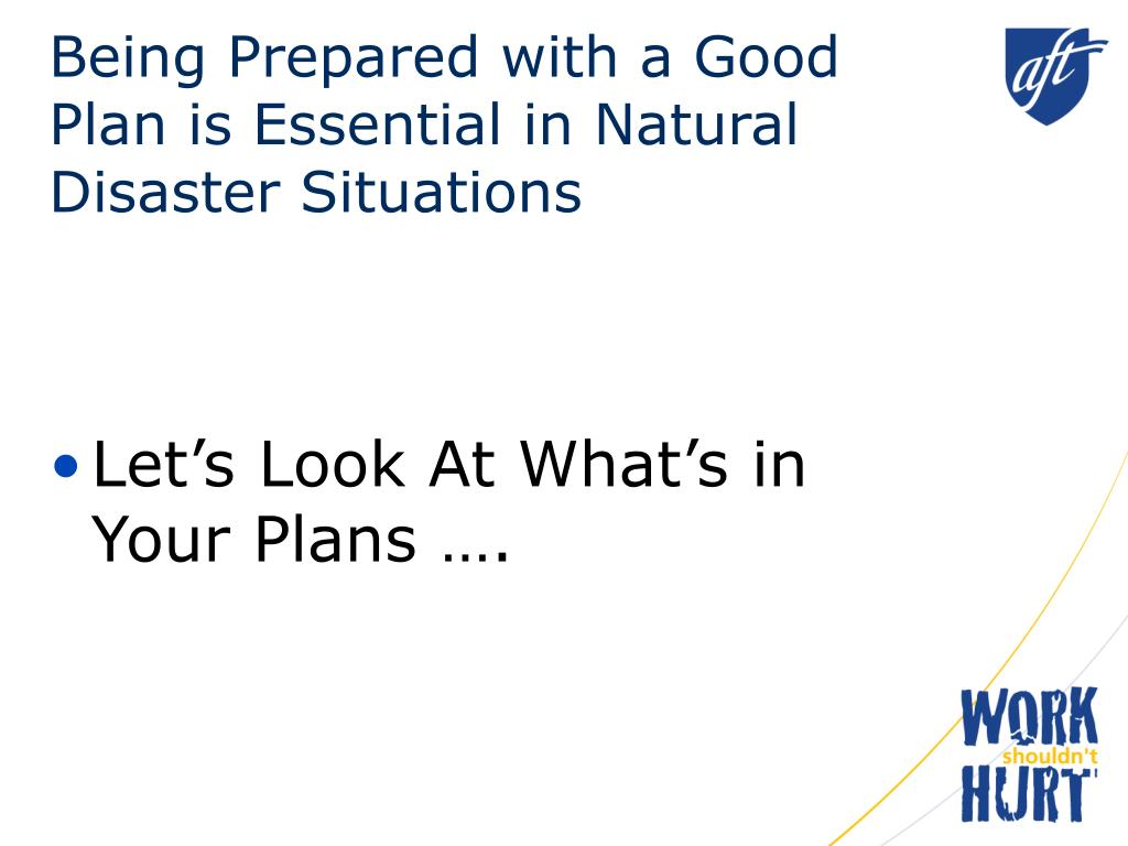 Being Prepared with a Good Plan is Essential in Natural Disaster Situations